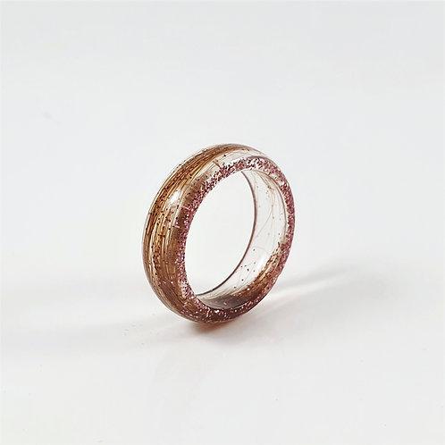 Memorial Hair Keepsake Ring with Rose Gold Glitter