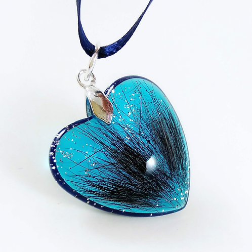 Small Blue Heart Hair Keepsake with Glitter