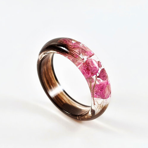 Hair Keepsake Ring with Pink Baby's Breath
