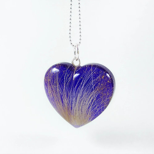 Pet Hair Keepsake - Purple Heart Locket with Gold Dust
