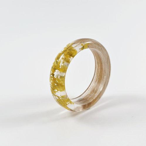 Lock of Hair Keepsake Ring with Yellow Flowers