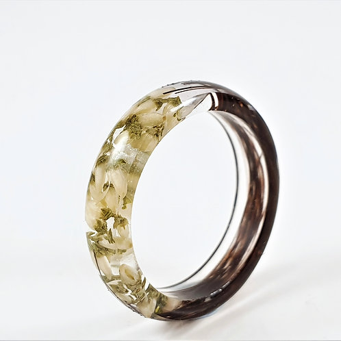 Lock of Hair Keepsake Ring with White Heather Flowers