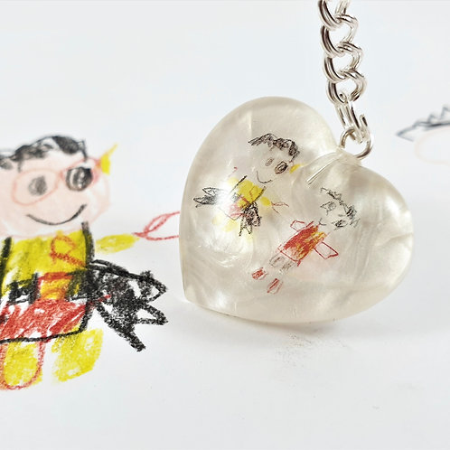 Children's Art Drawing Necklace- Heart-Shaped Pendant