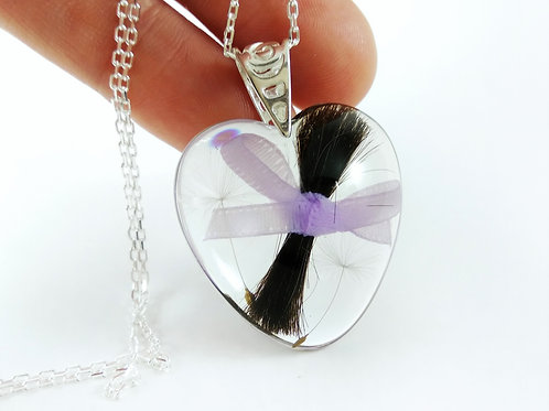 Heart Hair Keepsake Necklace with Dandelion Seeds