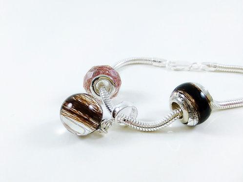 Complete Memorial Bracelet - 3 Lock of Hair Charms