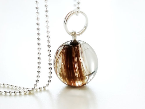 13mm Sphere Hair Keepsake Necklace