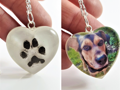 Actual Paw Print and Photo Pendant - Bespoke Pet Keepsake