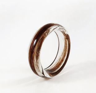 lock of hair keepsake ring resin memoria