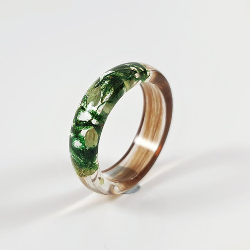 Hair Keepsake Ring with Green Flowers and Moss