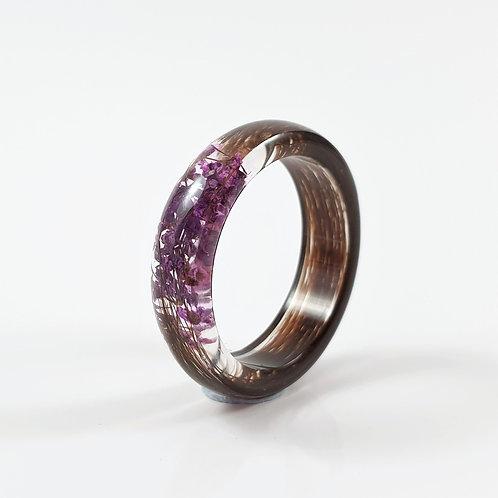 Lock of Hair Keepsake Ring with Purple Flowers