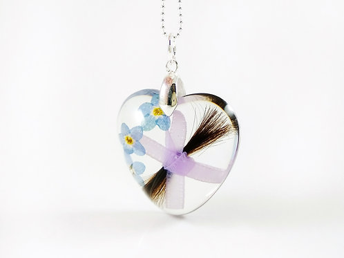 Lock of Hair Heart Necklace with Forget Me Nots