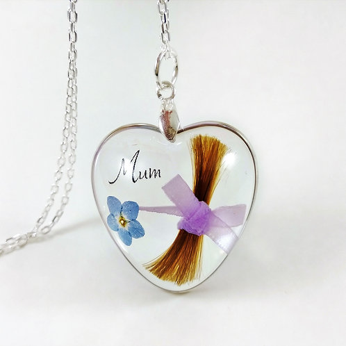 Heart Hair Locket With Bow - Mum Memorial Necklace