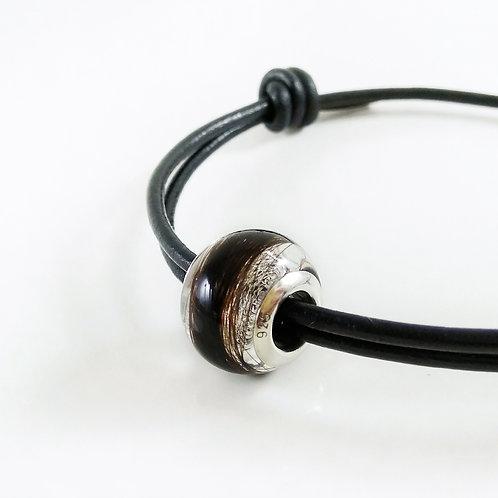 European Bead Hair Keepsake with Leather Bracelet