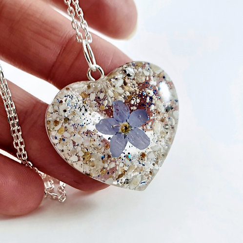 Cremation Ashes Necklace with Forget Me Not