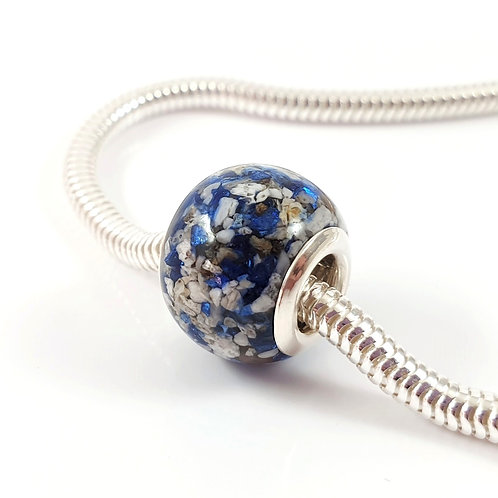 Cremation Ashes European Bead with Crushed Blue Crystals