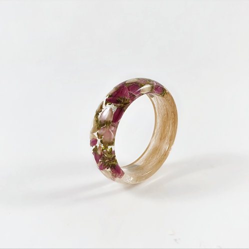 Lock of Hair Keepsake Ring with White and Pink Heather Flowers
