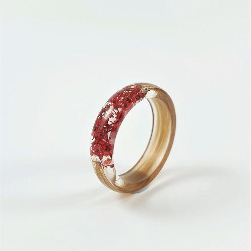 Lock of Hair Keepsake Ring with Red Flowers