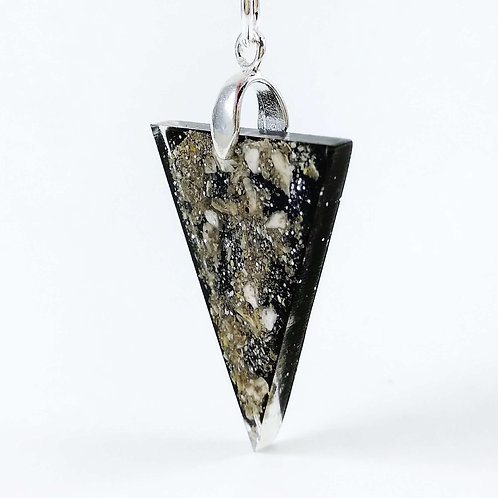 Black and Silver Ashes Keepsake - Triangle Locket