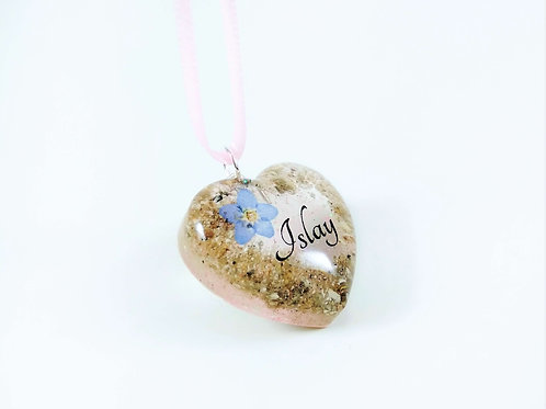 Pink Heart Cremation Ashes Keepsake Necklace