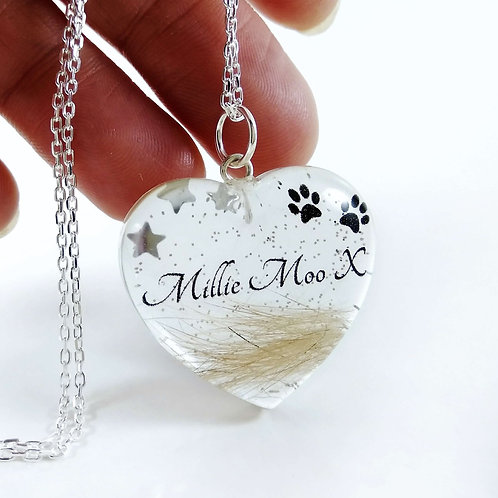Personalised Pet Hair Heart Memorial Locket with Name and Paw Prints