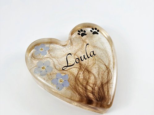 Heart Paperweight 6.5cm - Lock of Hair Keepsake