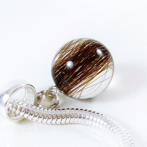 European Style Bracelet - 13mm Sphere Hair Keepsake Charm