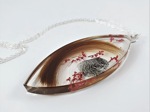 Large Pointed Oval Pendant - Actual Fingerprint and Lock of Hair Keepsake