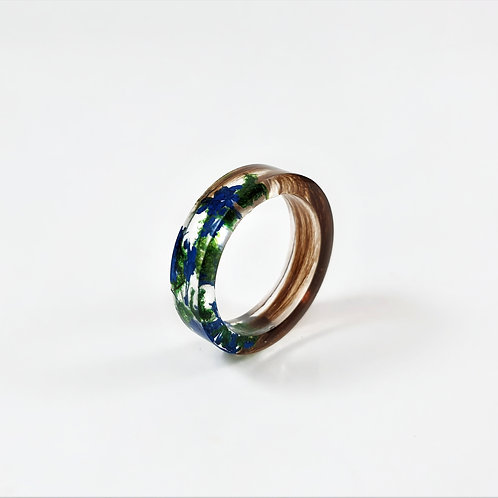 Lock of Hair Keepsake Ring with Blue Flowers and Green Moss