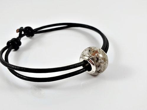 Cremation Ashes European Bead - Adjustable Sliding Bracelet
