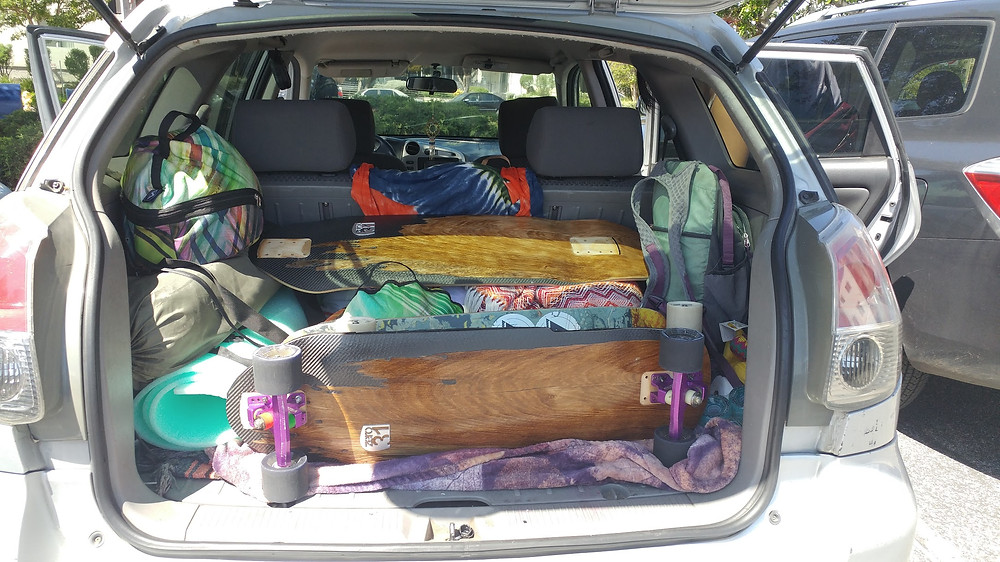 The car packed with the skate and explore essentials!