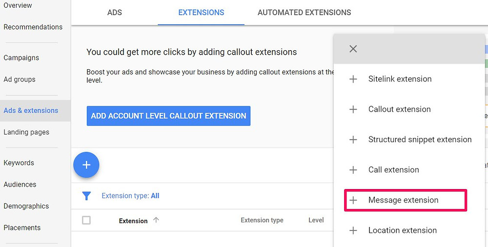 how to set up google ads call and message extension step 1