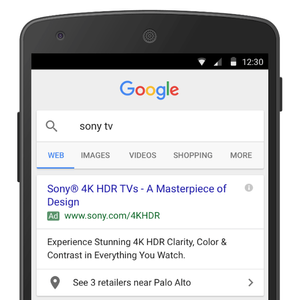 Google ad with location extension on mobile