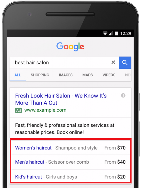 an example of an ad with product extensions