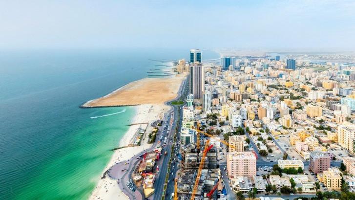an aerial view of the Ajman coastline
