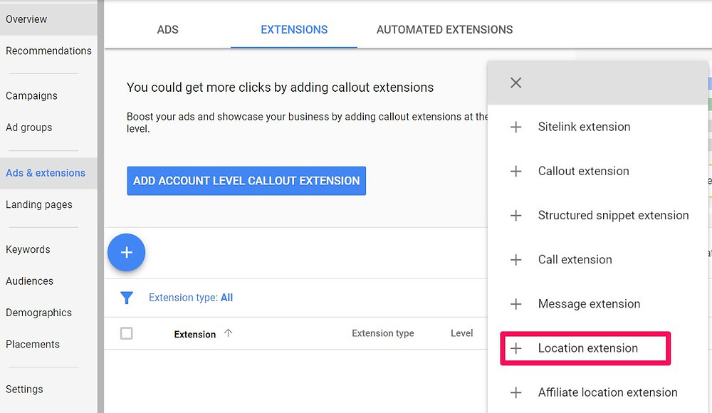 how to add location extension to google ads step 3