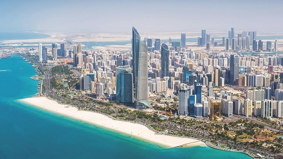 An aerial view of Abu Dhabi skyline.