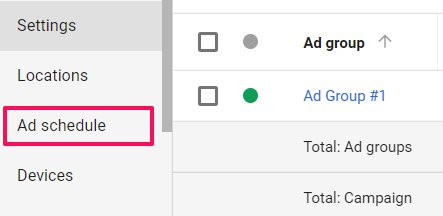 how to use ad scheduling in google ads step 2