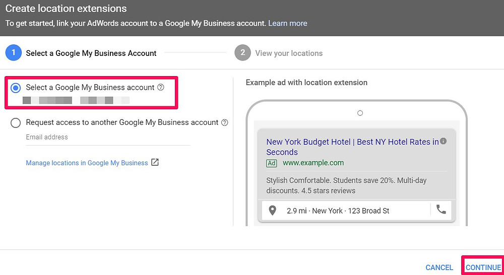 how to add location extension to google ad step 4