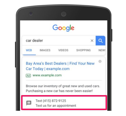 an example of a google ad with message extension