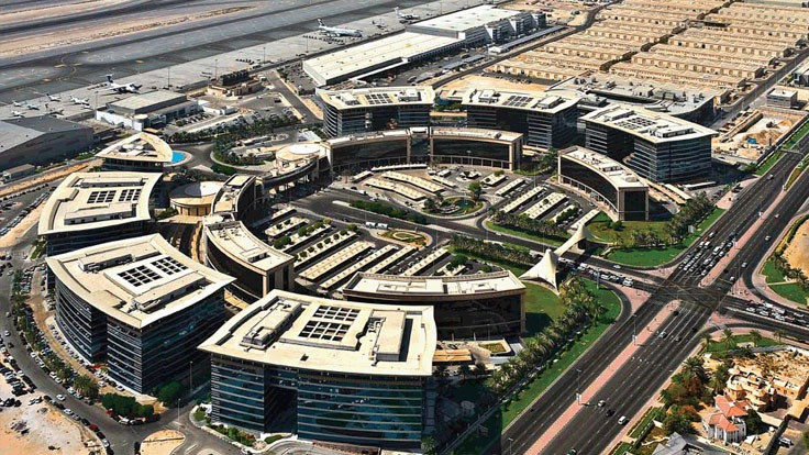 An aerial view of Dubai Airport Freezone
