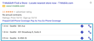 Google ad with location extension desktop