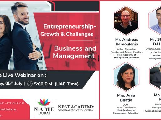 Shaumik Saha featured speaker at Online Entrepreneurship Event hosted by NEST Academy Dubai