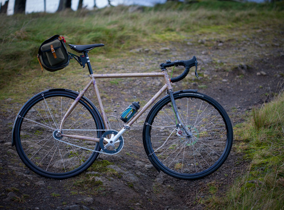 Lugged all-road fixed frame with disc brake modded Surly fork.