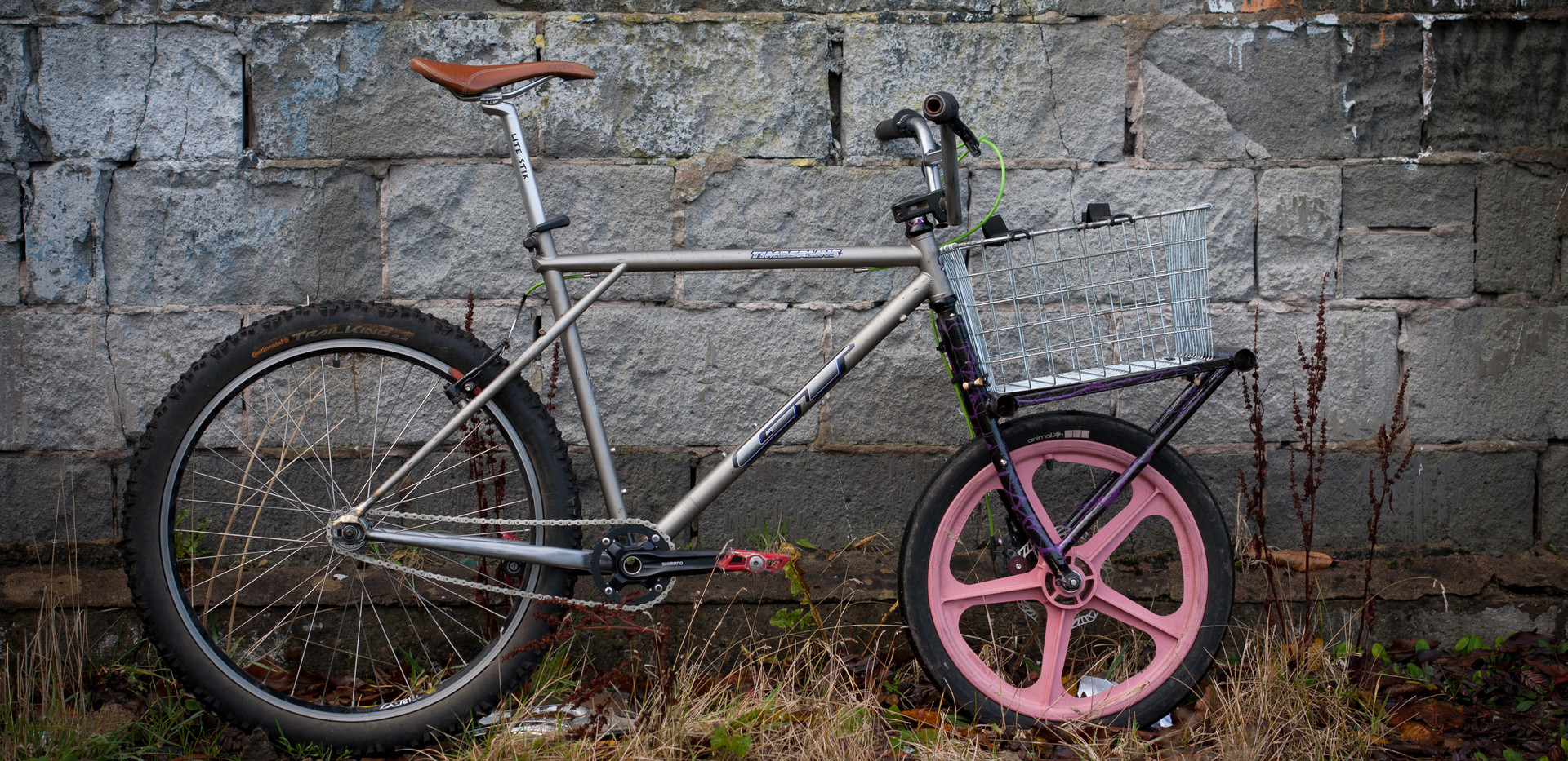 Singlespeed converted GT with modified cargo fork.