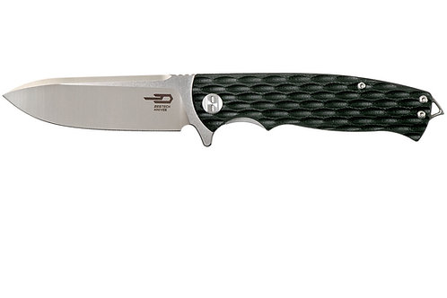 Bestech Grampus Flipper Knife Two-Tone Satin/Stonewashed Blade, Black G10 Handle