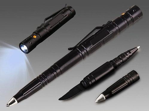 עט טקטי + פנס + סכין מתברג