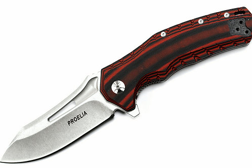 "Proelia TX020RW 4"" Stonewashed D2 Drop Point Blade, Red and Black G10"