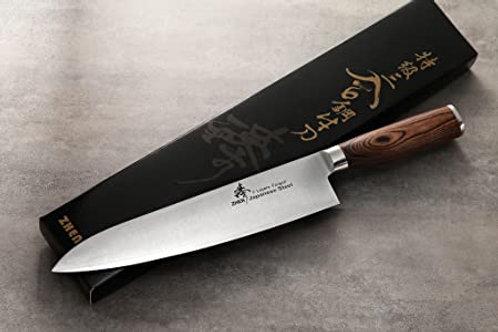 """סכין שף """"9.5 שלוש שכבות עם ידית עץ"""