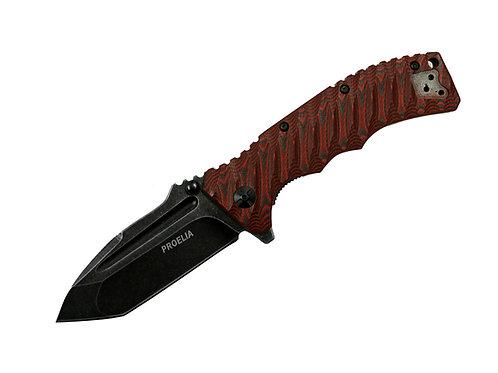 Proelia TX010RB Blackwashed D2 Tanto Blade, Red and Black G10 Handles