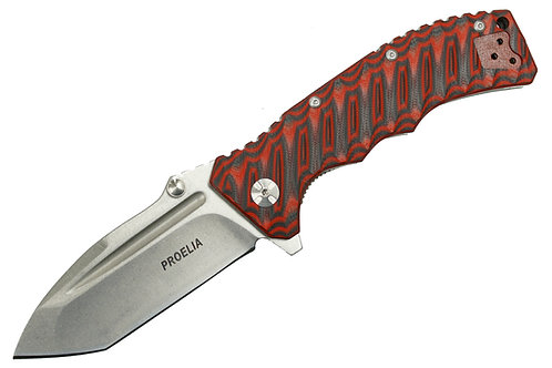 Proelia TX010RW Stonewashed D2 Tanto Blade, Red and Black G10 Handles